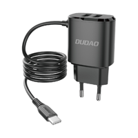 Dudao ładowarka sieciowa 2x USB z wbudowanym kablem USB Typ C 12 W czarny (A2ProT black)
