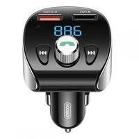 Joyroom transmiter FM Bluetooth 5.0 MP3 micro SD ładowarka samochodowa 2x USB 18 W 3 A Quick Charge 3.0 czarny (JR-CL02)