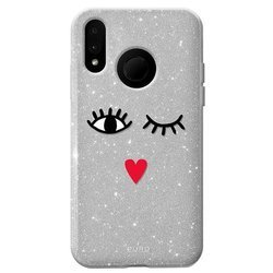 """PURO Glitter EYES Shine Cover - Etui Huawei P20 Lite (2018) 5.8"""" (Silver) Limited edition"""